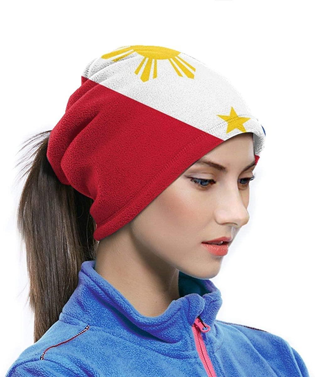 Microfiber Neck Warmer Philippine Flag Proud Neck Gaiter Tube Ear Warmer Headband Scarf Face Mask Balaclava Black