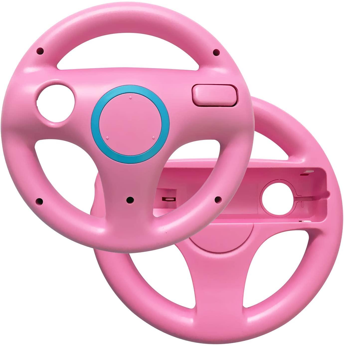 AreMe 2 Pack Mario Kart Racing Steering Wheel for Nintendo Wii (U) Remote Controller (Pink)