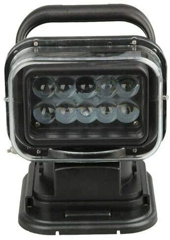 Tecumseh Black Marine Halogen Spotlight 50W Rechargeable Flashlight Wireless LED Remote Control Searchlight IP67 Waterproof Brightest Spotlight Outdoor Handheld Portable Long Shots Lamp Torchlight