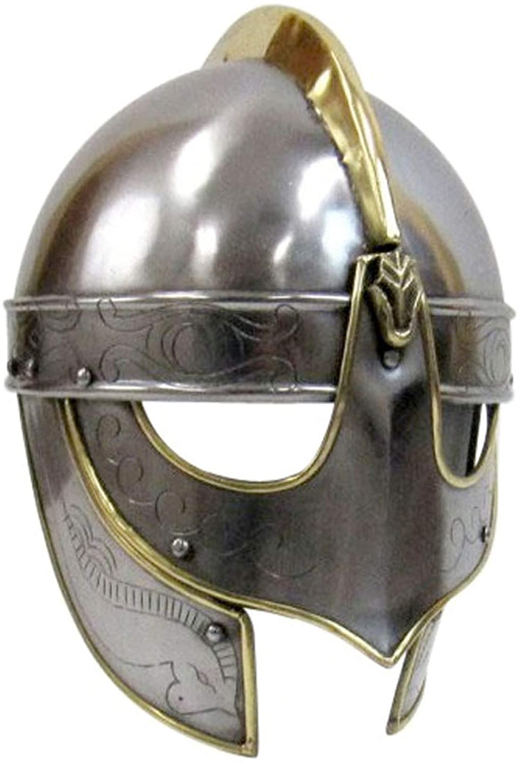AnNafi Handcrafted Viking Wolf Armor Helmet| Medieval Metal Knight Helmets| with Brass Accents | Wearable for Adult | Medieval Costumes