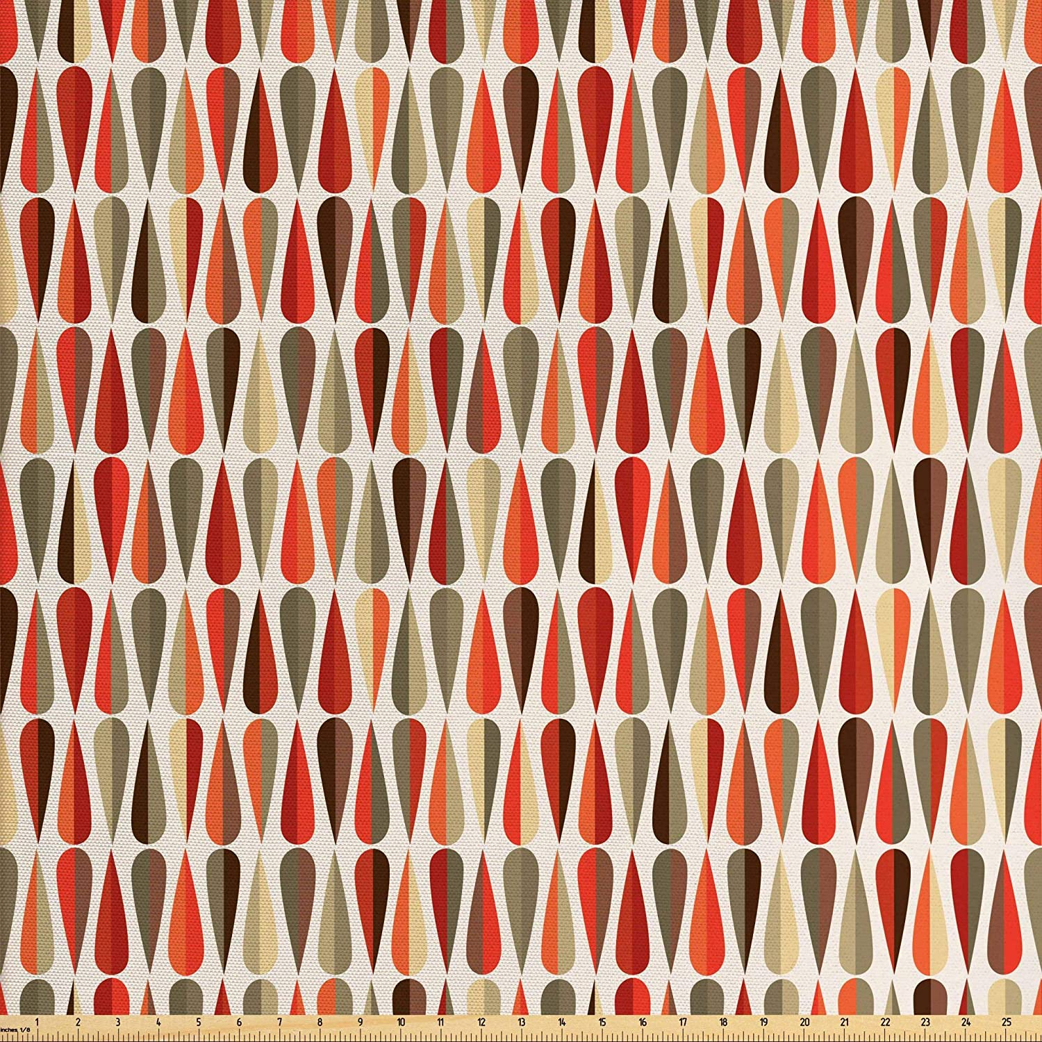 Ambesonne Retro Fabric by The Yard, Sixties and Seventies Style Geometric Round Shaped Design with Warm Colors Print, Decorative Fabric for Upholstery and Home Accents, 2 Yards, Orange Cream