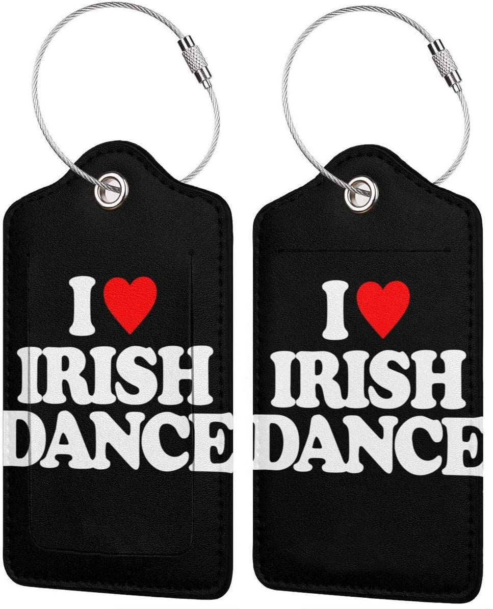 I Love Irish Dance Leather Luggage Tag Bag Tags Suitcase Tags Identifiers Travel Tags 2 PCS