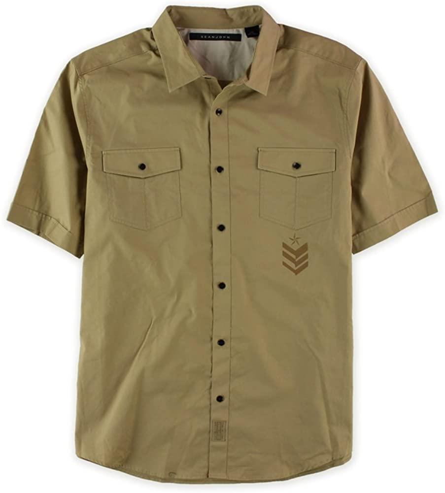 Sean John Mens Military Graphic Button Up Shirt