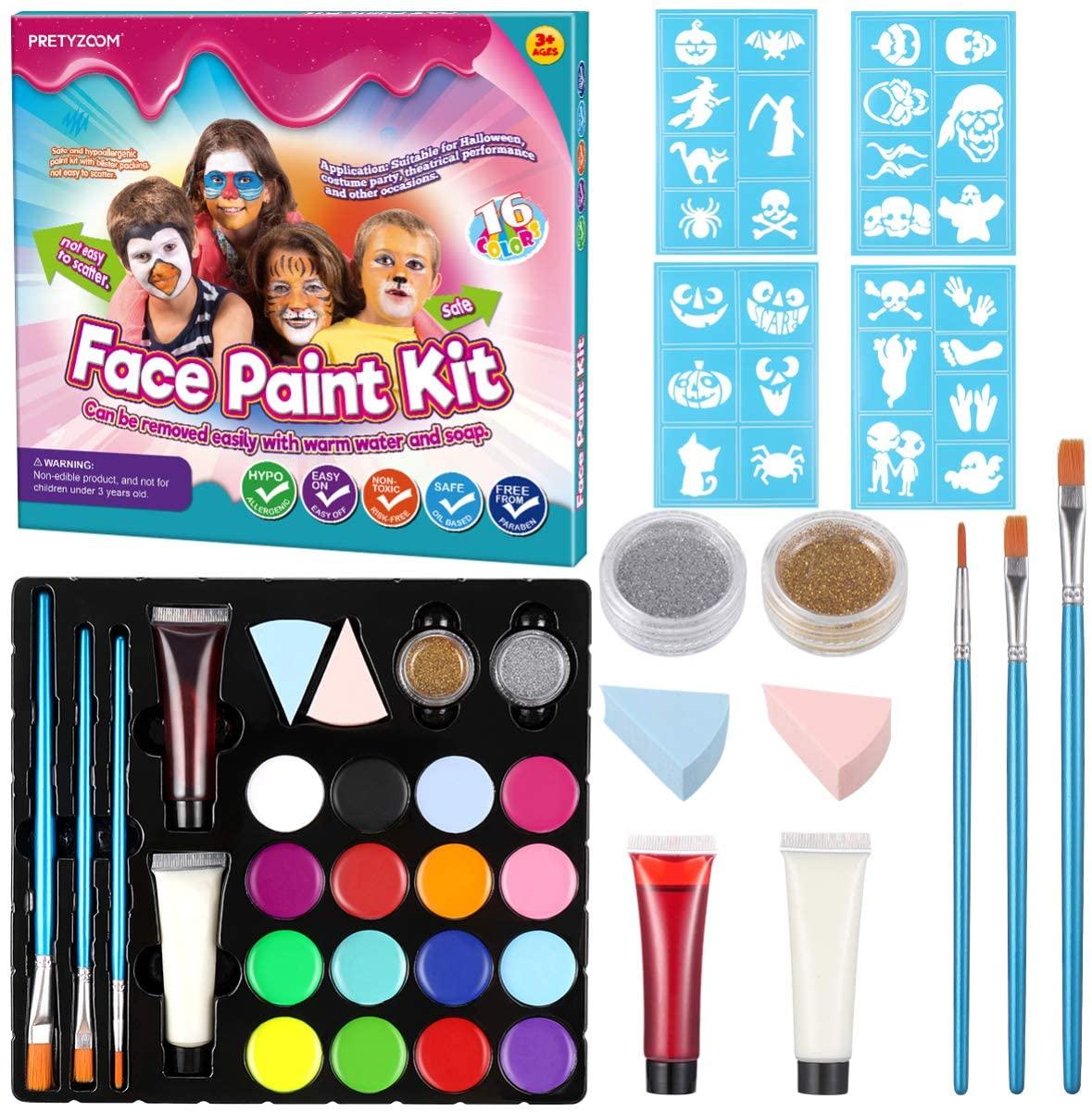 PRETYZOOM Face Paint Kit Halloween Professional Face Paint Palette with Blush Glitter Box Halloween Sticker Cosplay Makeup Facepaint Set for Kids Masquerade Halloween Facepaint Party Supplies