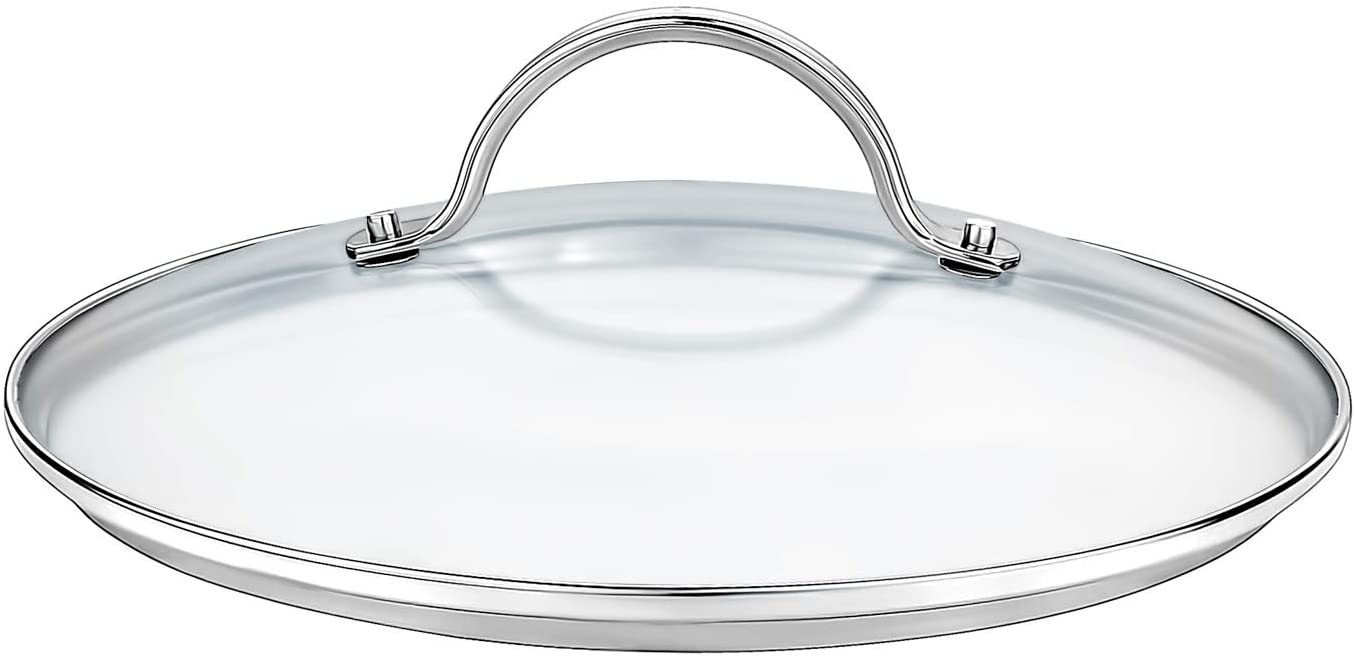 GOURMEX Tempered Glass Cookware Lid with Stainless Steel Rim and Sturdy Riveted Handle to Fit Pots, Frying Pans and Skillets, Dishwasher and Oven Safe, Heat Resistant (30cm)