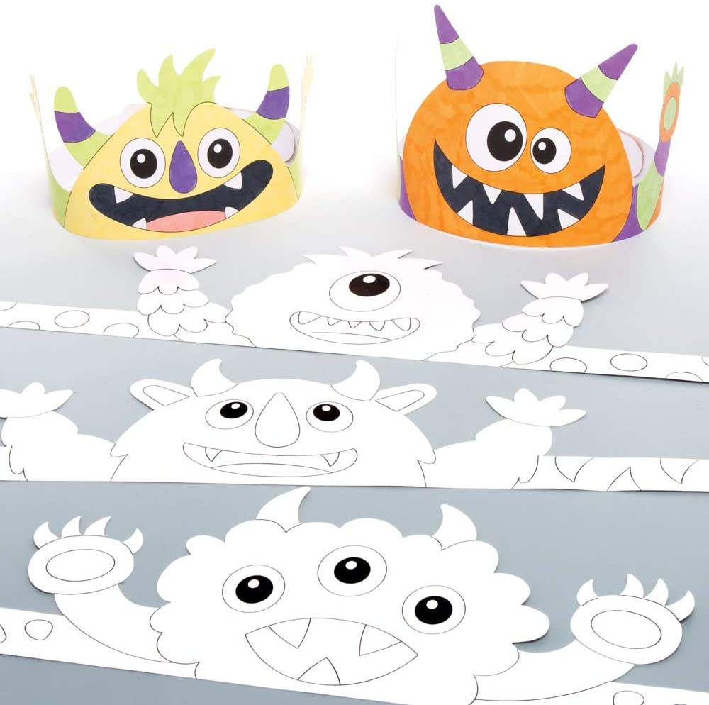 Baker Ross Monster Crowns Halloween Color-in Craft Hats (Pack of 8)