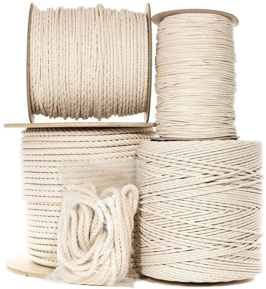 Natural Twisted Cotton Rope 1 Inch - Biodegradable Cord with No Bleach or Dyes - Low Stretch Line in High Strength Capacity - Arts, Crafts, Indoor/Outdoor DIY Projects, Commercial Uses (50 Feet)