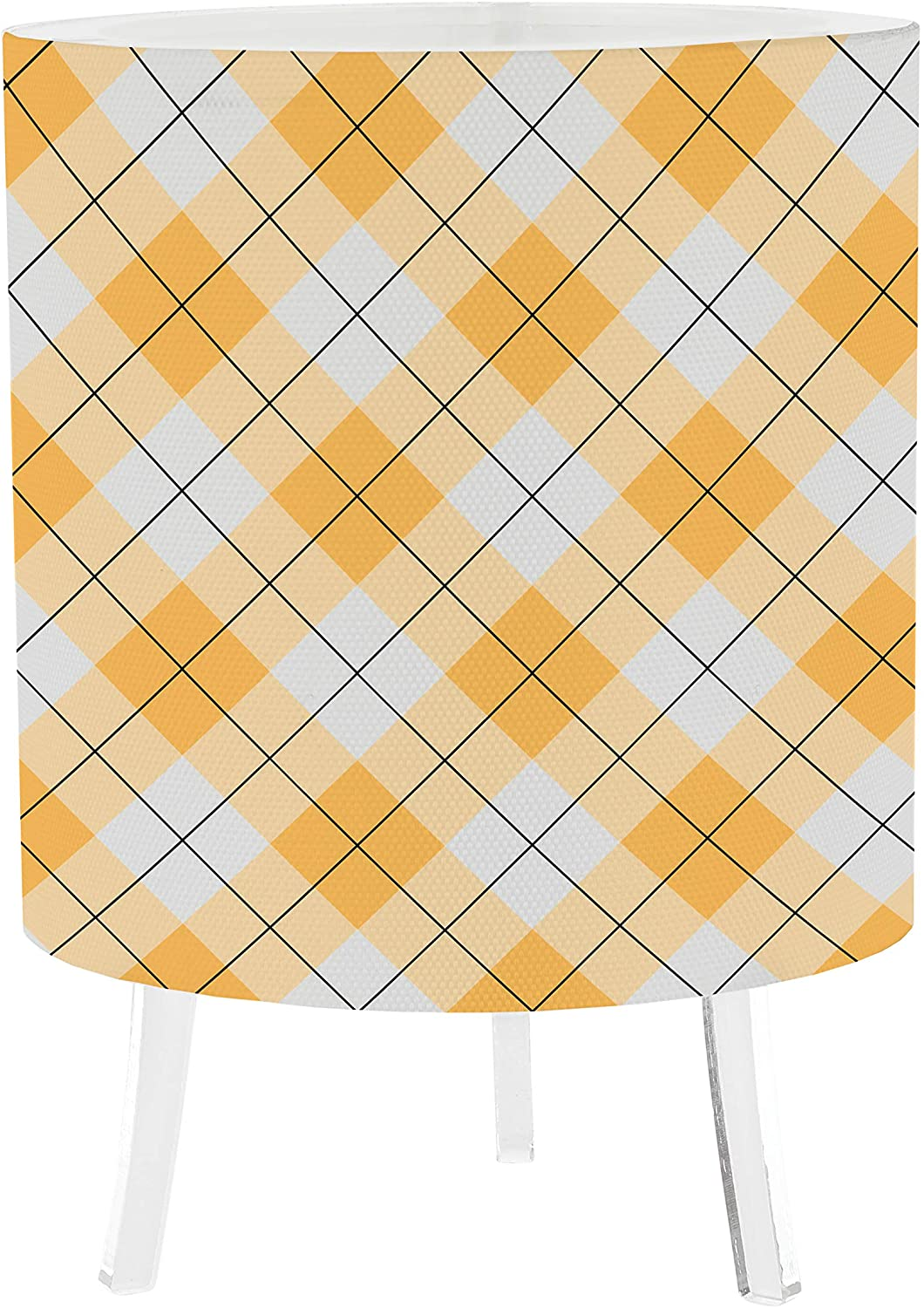5x7 Inch Desk Lamp - Argyle Orange Custom Canvas Printed Table Light 16 Colors - 5 Level Dimmer - 4 Lighting Effects - Rechargeable Light - Remote Control. by LampPix Made in The USA.