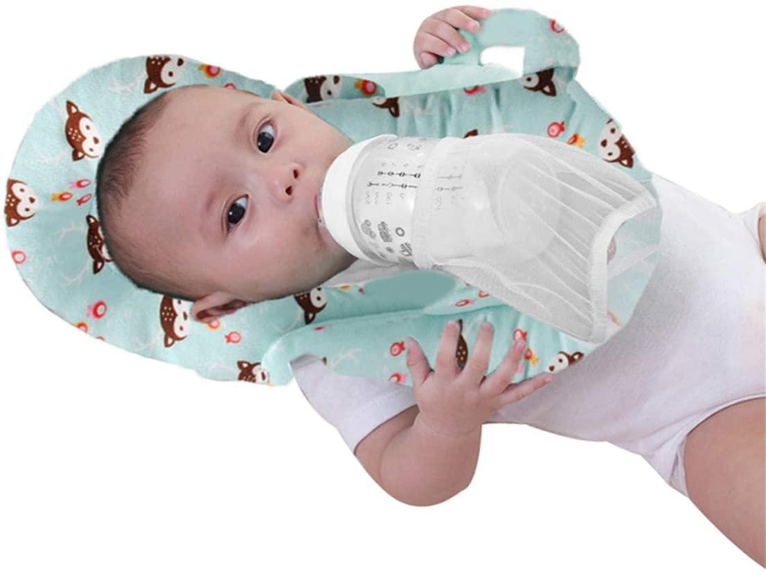 Mooniver Baby Detachable Feeding Pillows Anti Roll Prevent Flat Self Feeding Nursing Pillow Portable Breast Feeding Pillows (Fox)