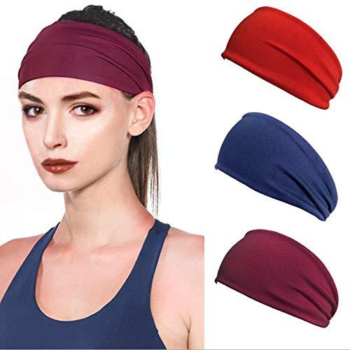 LittleB Yoga Headbands Running Headband Stretch Sweat Head Wrap Wide Sporting Hairbands for Women and Men(3PC)