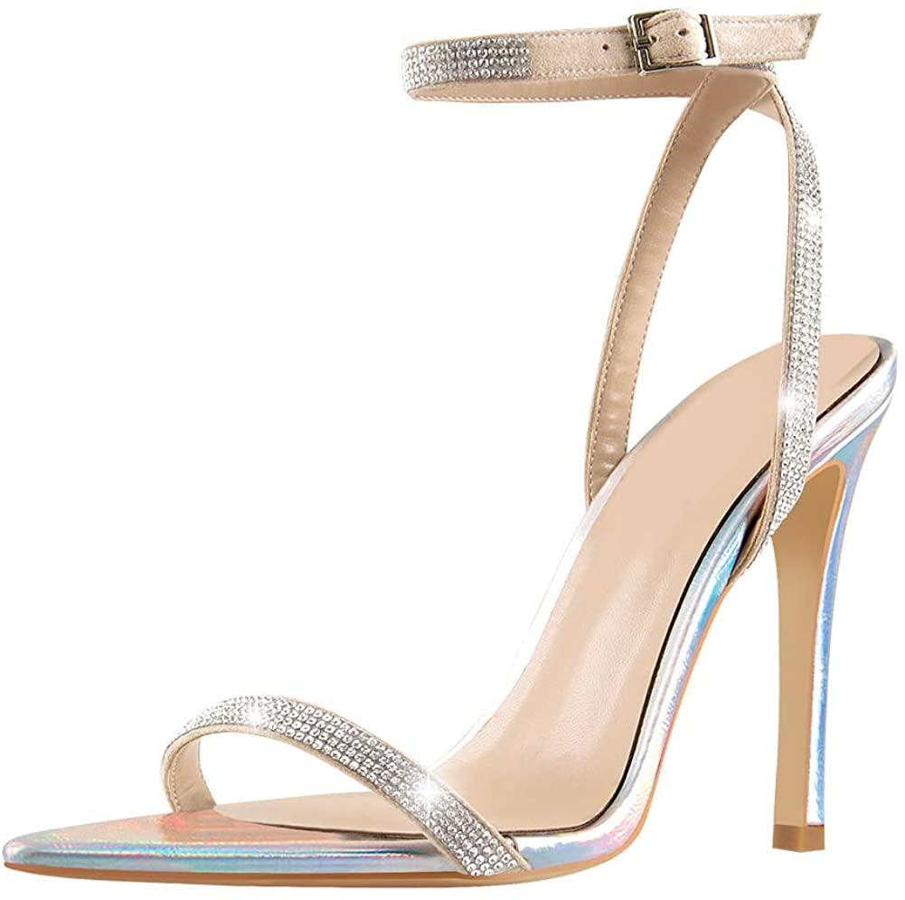 Yolkomo Women's Open Toe Ankle Strap Rhinestone High Heels Sandals Bridal Wedding Shoes