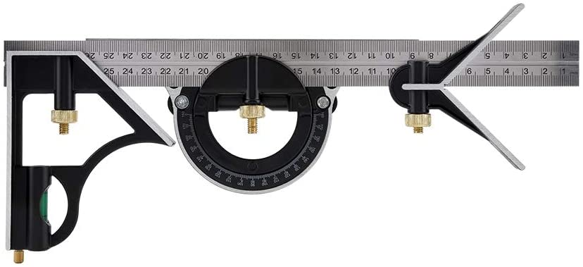 Right Angle Ruler, Stainless Steel Combination Engineer Ruler 300mm Multi-functional Adjustable Square Right Measuring Tool(12.014.72in-Black)
