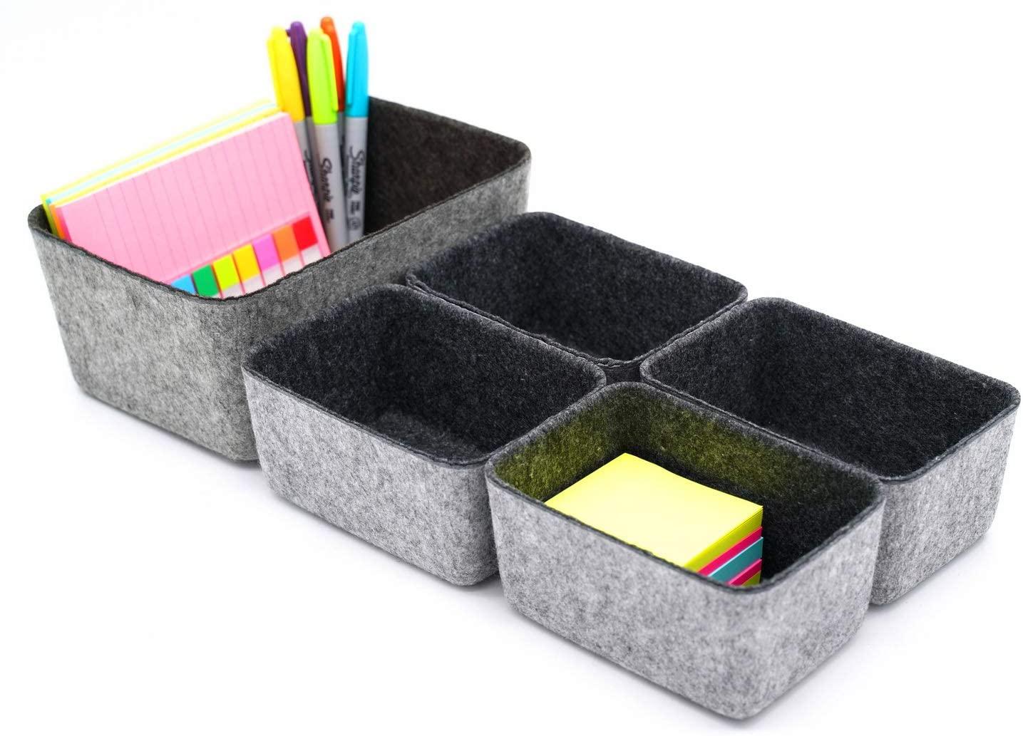 Welaxy Drawer organizers dividers storage bins office organizer bin pack of 5 (Charcoal)