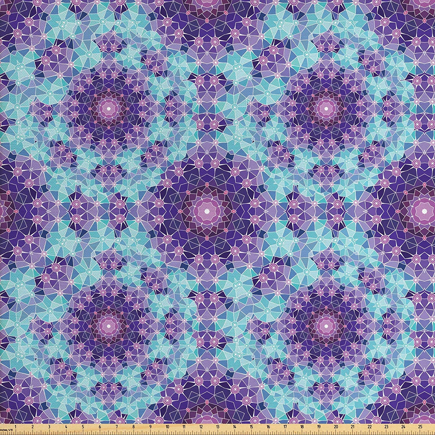 Ambesonne Purple Mandala Fabric by The Yard, Geometric Mosaic Fractal Sign of Universe Graphic Art, Decorative Fabric for Upholstery and Home Accents, 3 Yards, Mauve Lilac