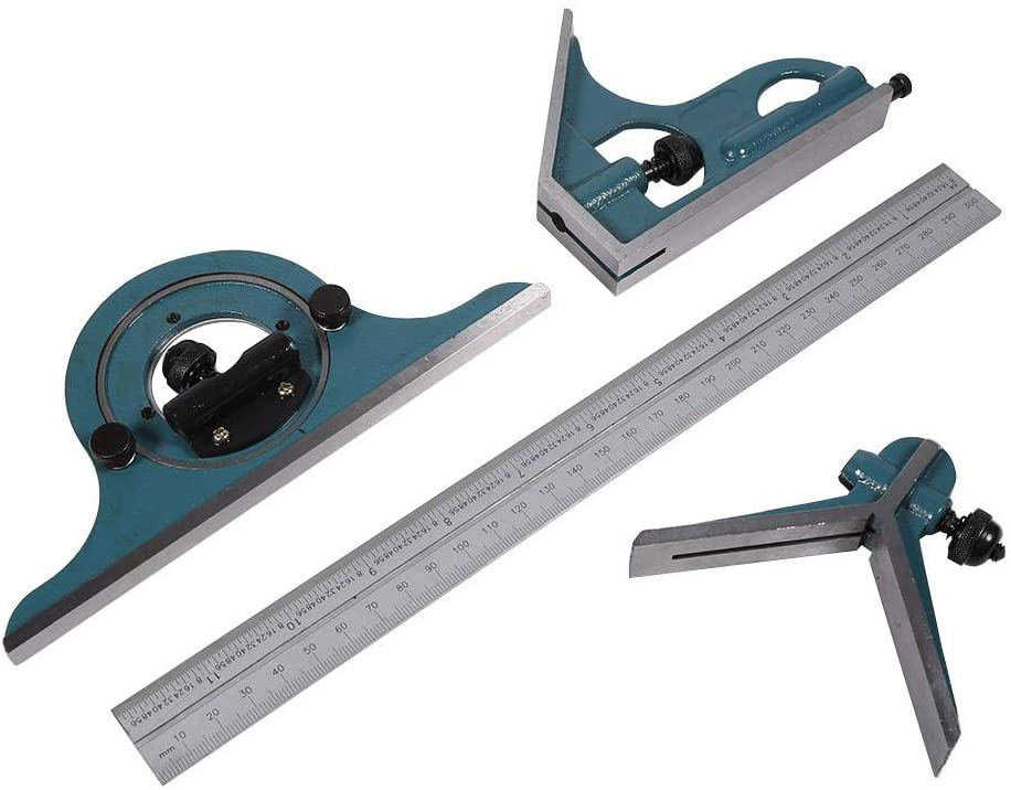 Universal Bevel Set, Stainless Steel Bevels 180 Degree Inner and Outer Angled Parts Measured Tools Set, Combination Square Protractor Ruler Set, Green