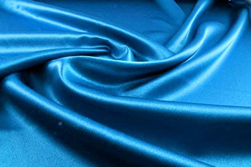 """mds Pack of 10 Yard Charmeuse Bridal Solid Satin Fabric for Wedding Dress Fashion Crafts Costumes Decorations Silky Satin 44"""" Blue"""