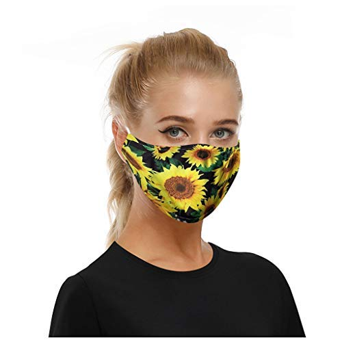 Crazypig 5PCS Adult Reusable Bandana_Covering_Mask,Breathable Cotton Sunflower Printing Madk for Men Women Outdoor Sports, Reusable&Washable