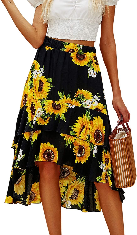 Hibluco Women's Casual High Waist Printed Asymmetrical Ruffles Layers Long Skirt