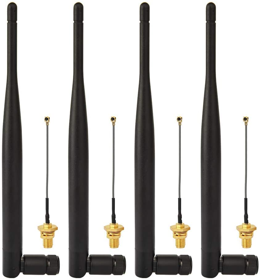 Superbat 4 x 6dBi 2.4GHz/5GHz Dual Band WiFi RP-SMA Antenna + 4 x 8cm U.fl/IPEX Cable for Wireless Routers Mini PCIe Cards Network Extension Bulkhead Pigtail PCI WiFi WAN Repeater