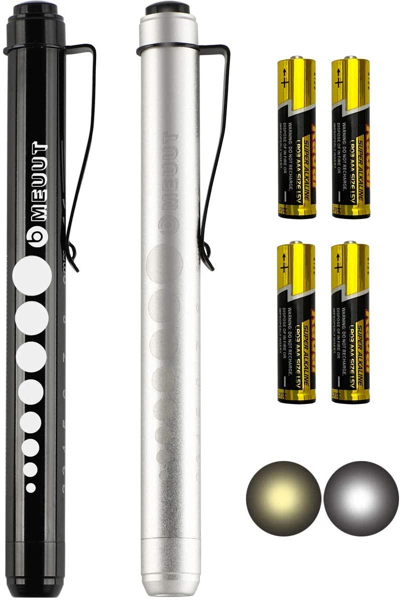 2 Pack Pen Light - Nurse Led Medical Penlight with Pupil Gauge for Nurses Doctors EMT Trauma with Batteries (Black+Silver)