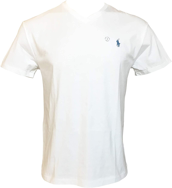 Polo Ralph Lauren Men's Classic Fit Short Sleeve V-Neck T-Shirt (M, Bright White)