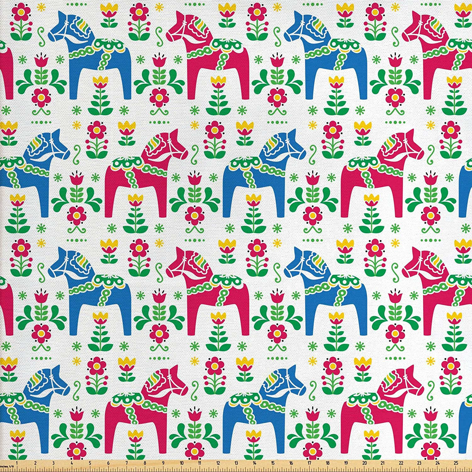 Ambesonne Horses Fabric by The Yard, Classic Swedish Dalecarlian Coral Azure Blue Animals and Green Floral Arrangement, Decorative Fabric for Upholstery and Home Accents, 3 Yards, Pink Blue