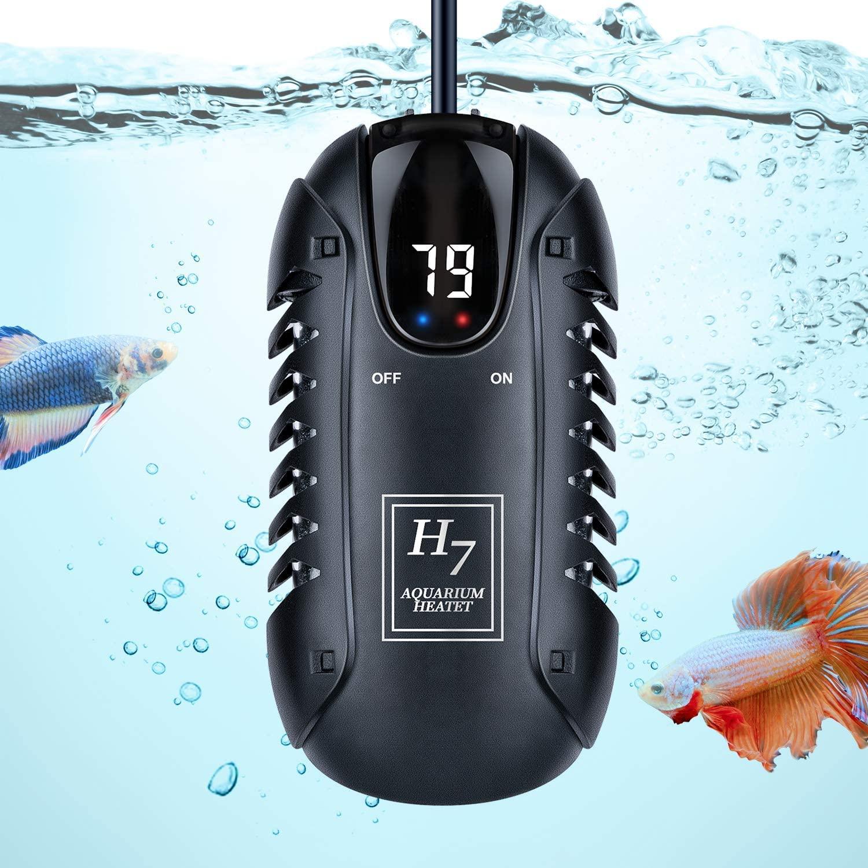 PGFUNNY 50W Aquarium Heater, Adjustable LED Digital Temperature Display Smart Thermostat Betta Fish Heater, for Betta Tank Heater with Protective Guard
