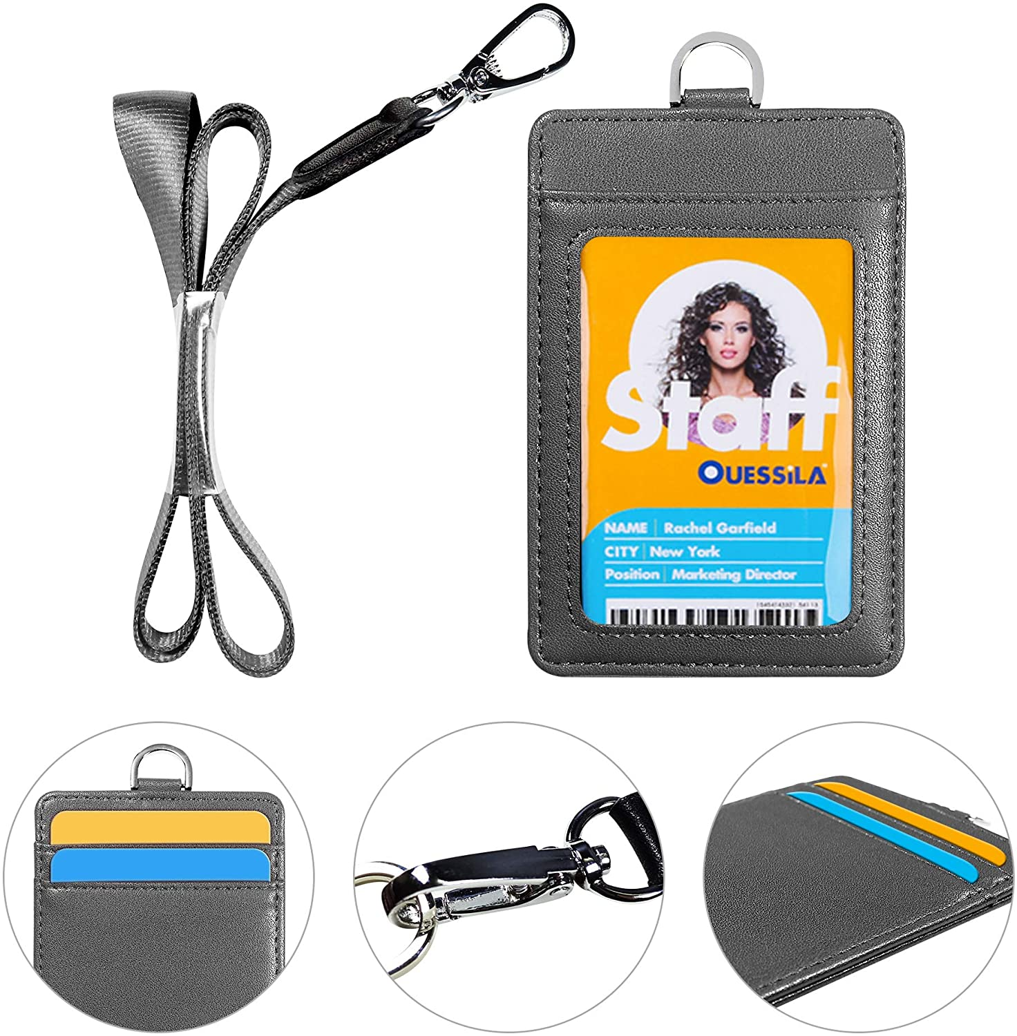 Badge Holder with Lanyard, 2-Sided Durable Leather ID Badge Card Holder with 1 Clear ID Window and 2 Credit Card Slot and Polyester Detachable Neck Lanyard Strap - Gray (Vertical)