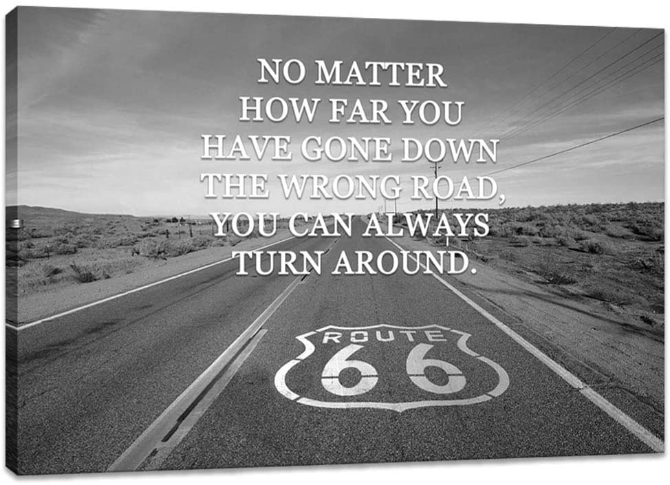 Innopics Inspirational Canvas Wall Art Black and White Route 66 Motivational Quote Pictures Print on Canvas The Mother Road USA Artwork Painting Framed for Office Living Room Decor