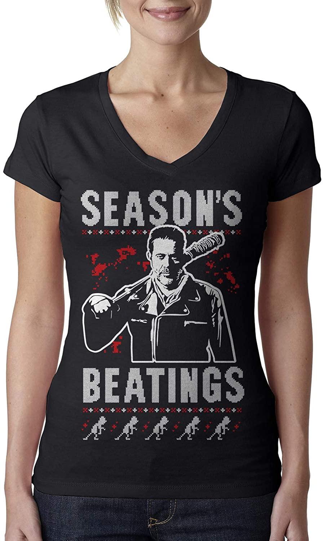 Season's Beatings Ugly Christmas Ladies V-Neck T-Shirt