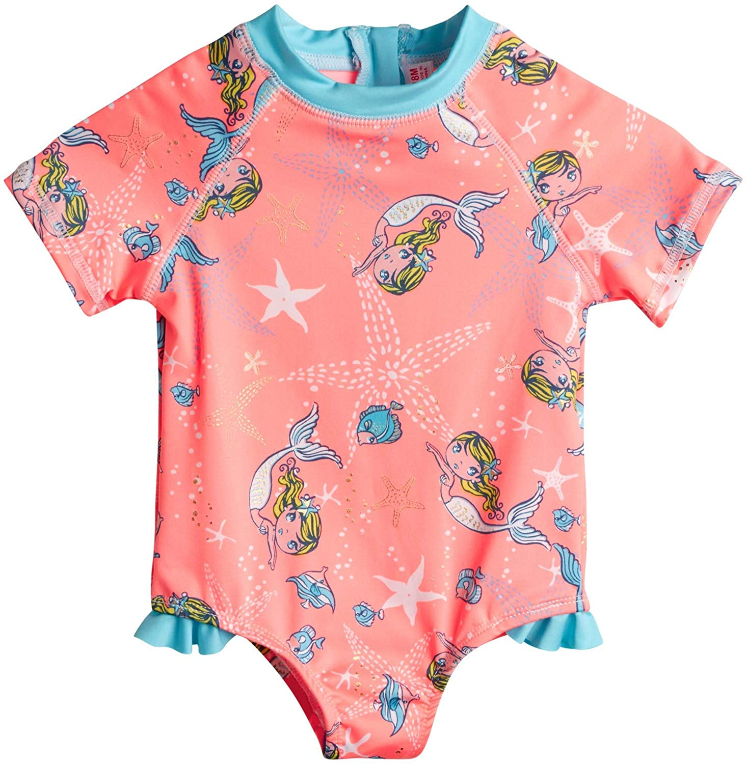 Wippette Baby Girls Swimwear - One Piece Rash Guard Swimsuit with Sun Protection UPF 50+ (Newborn/Infant)