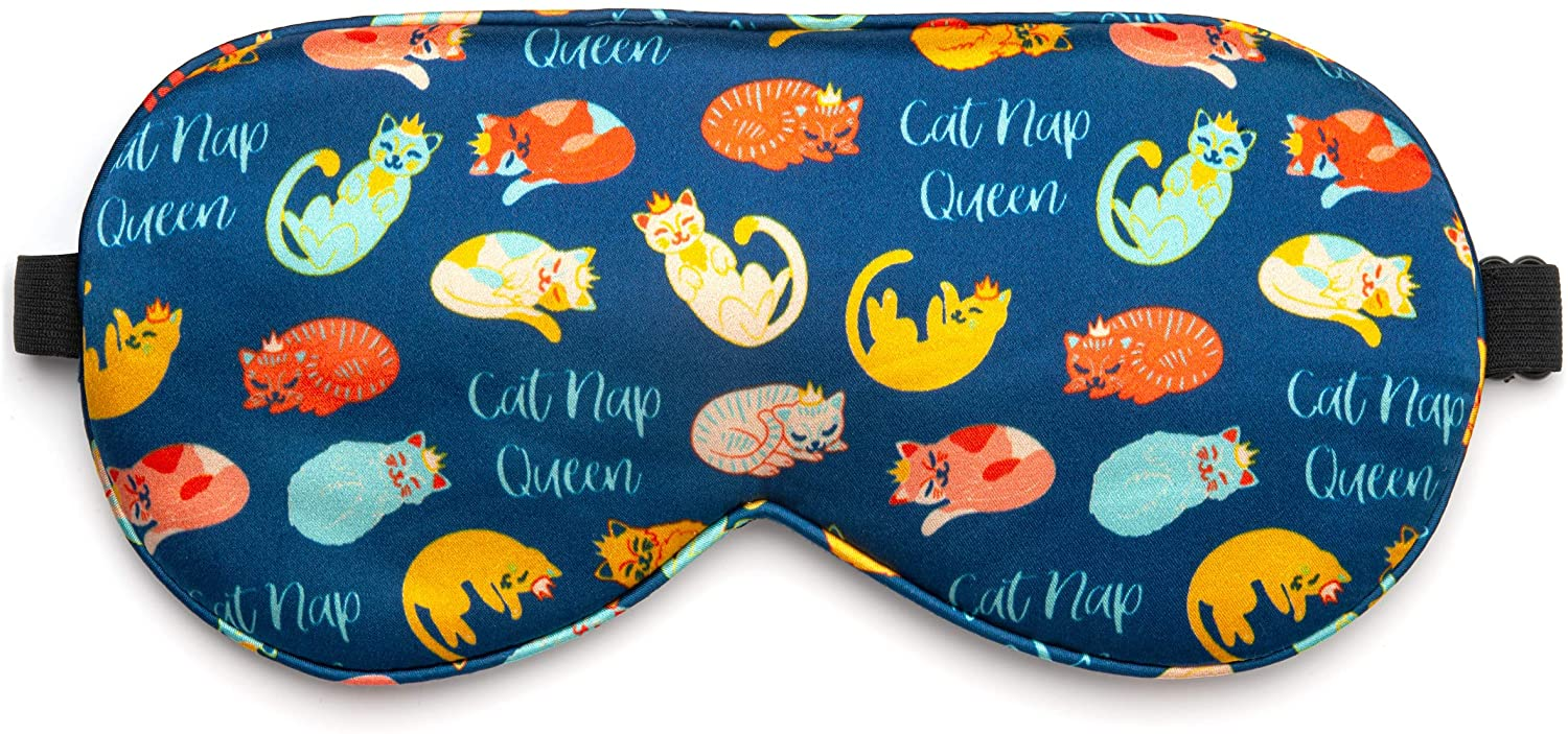 Lavley 100% Silk Sleep Mask | Funny Eye Mask Blindfold with Adjustable Strap | Soft Eye Cover for Good Night's Rest, Nap, Travel or Meditation (Catnap Queen, Donut Wake Me) (Catnap Queen)