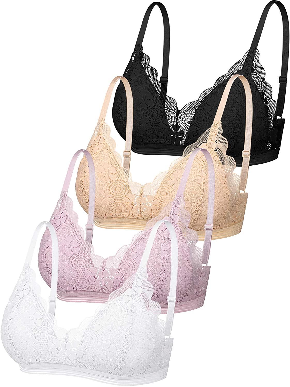 4 Pieces Women Lace Padded Bras Camisole Bandeau Bralettes Lace V-Neck Straps Bra