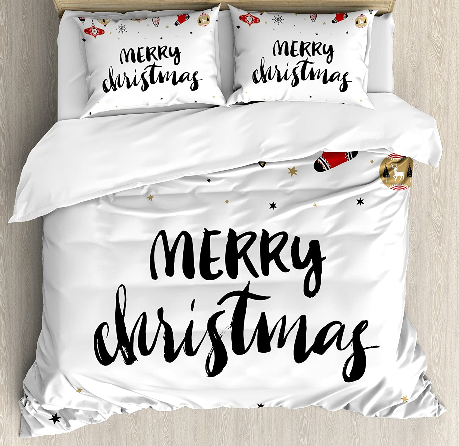 Ambesonne Christmas Duvet Cover Set, Merry Xmas Words Modern Brush Lettering Creative Noel Phrase Inspirational Print, Decorative 3 Piece Bedding Set with 2 Pillow Shams, Queen Size, Charcoal