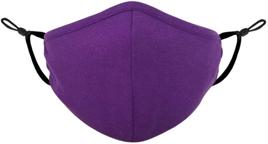 3D Adult Face Mask w/Filter Pocket Adjustable Elastic Earloops Cotton Blend Breathable Washable Made in USA by Tough Cookie Clothing (1 pc, Purple)