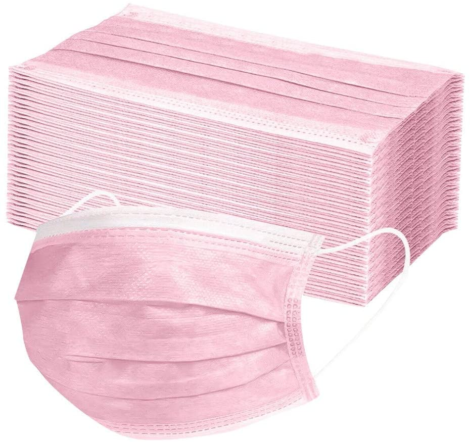 Zackate 10/30/40/60PCS Non-woven fabric Disposable Face Guard 3 Layers Safety Protection Mouth Guards, Anti Pollution Dust Free Mouth Protectives (60PCS, Pink)
