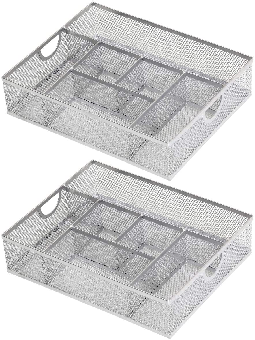 YBM Home 2-Pack Cosmetic Storage Makeup Organizer Holds Your Cosmetics, Makeup Brushes, Pencils and Accessories, Designed for Vanity Bathroom or Counter Dresser, Stainless Steel Mesh Design 1152