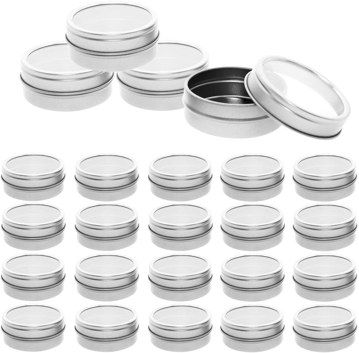 Mimi Pack 24 Pack Tins 1 oz Shallow Round Tins with Clear Window Lids Empty Tin Containers Cosmetics Tins Party Favors Tins and Food Storage Containers (Silver)