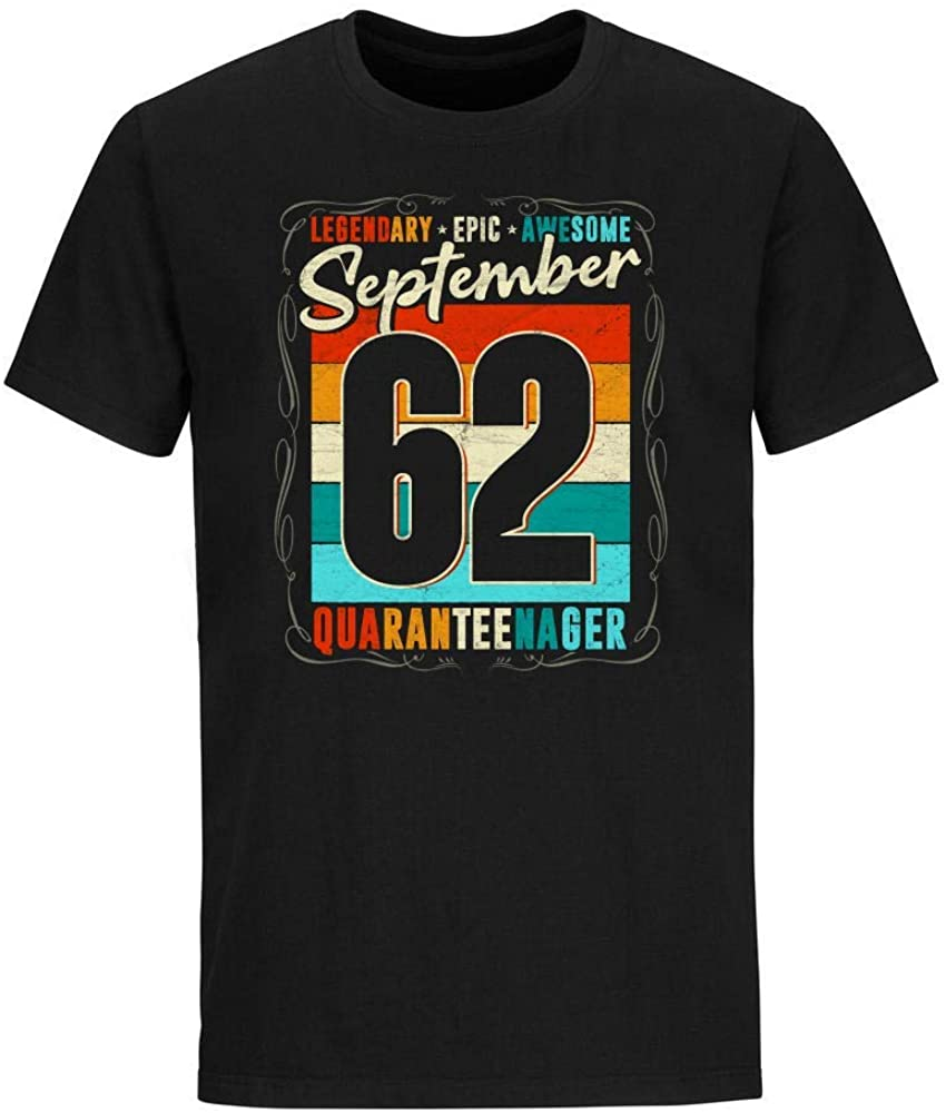 Vintage Legendary Epic Awesome September 62 Quaranteenager Birthday Social Distancing T-Shirt Novelty Cute Funny Graphic Short Sleeve Unisex Tees Shirts