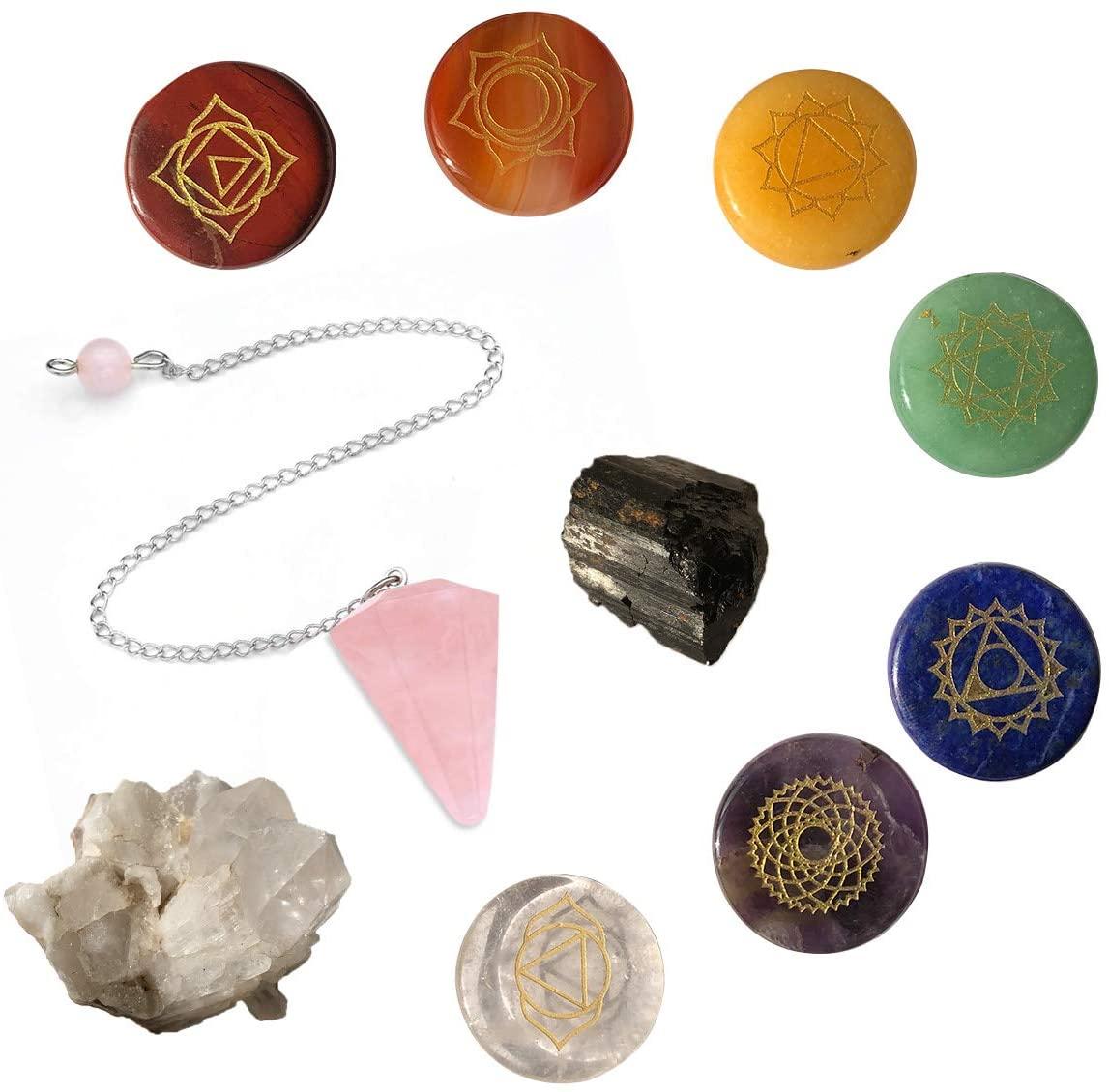 Funny Gems 10pcs Healing Crystal Reiki Chakra Stones Kit with Engraved Chakra Symbols Clear Crystal Cluster Black Tourmaline Rose Quartz Pendulum