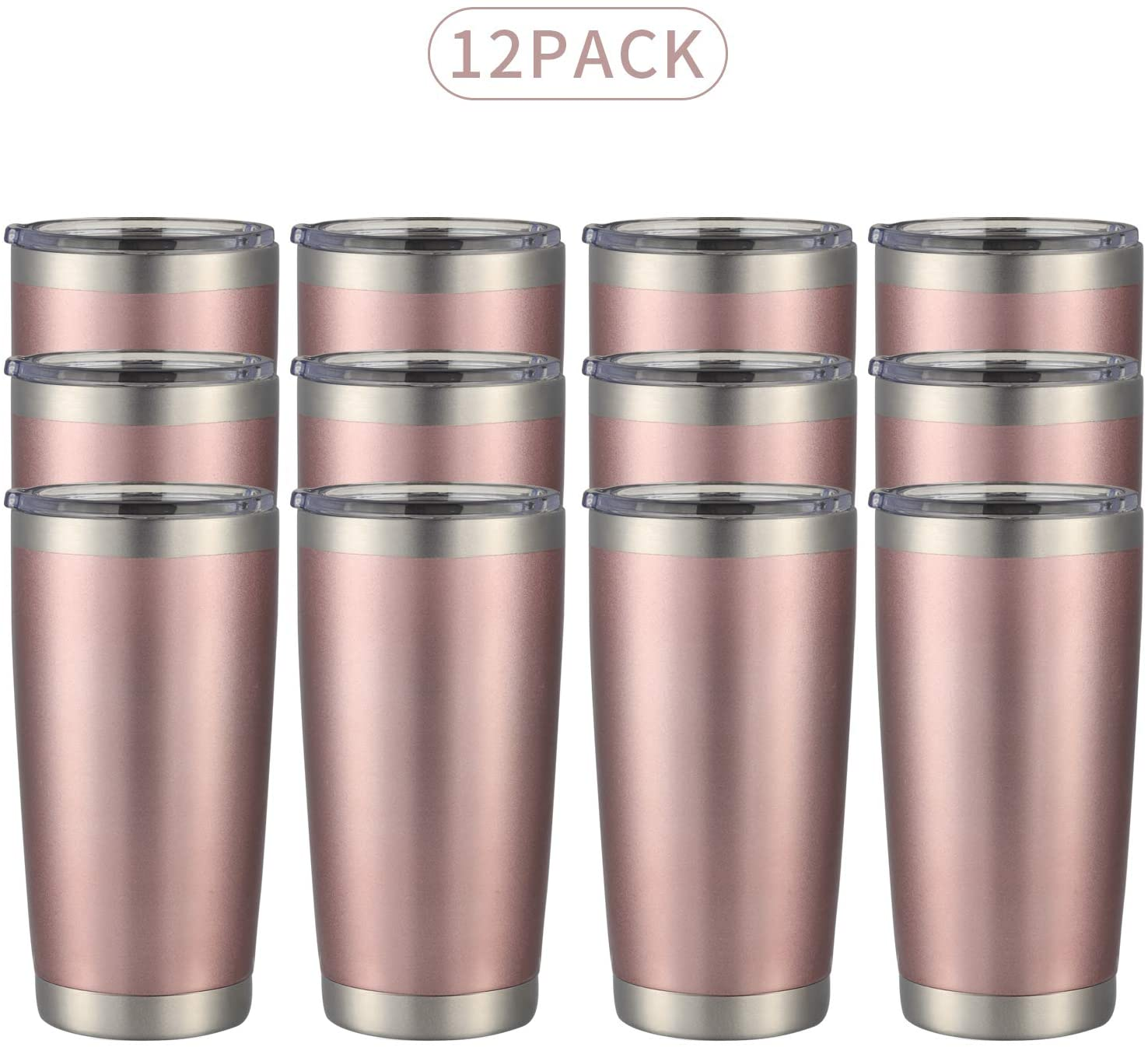 MUCHENGHY 20oz Tumbler Double Wall Stainless Steel Vacuum Insulated Travel Mug with Lid, Insulated Coffee Cup Travel Mug, 1 Straws,2 brush (Rose gold, 12)