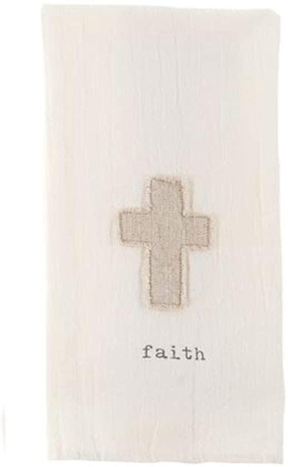 Mud Pie Applique Hand Towels (Faith Cross)