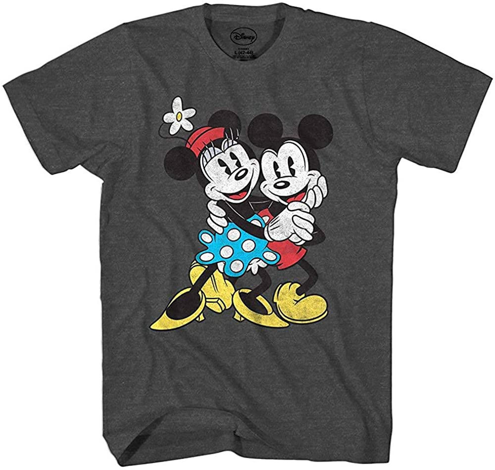 Disney Mickey & Minnie Mouse Old School Love Vintage Classic Retro Adult Tee Graphic T-Shirt for Men Tshirt
