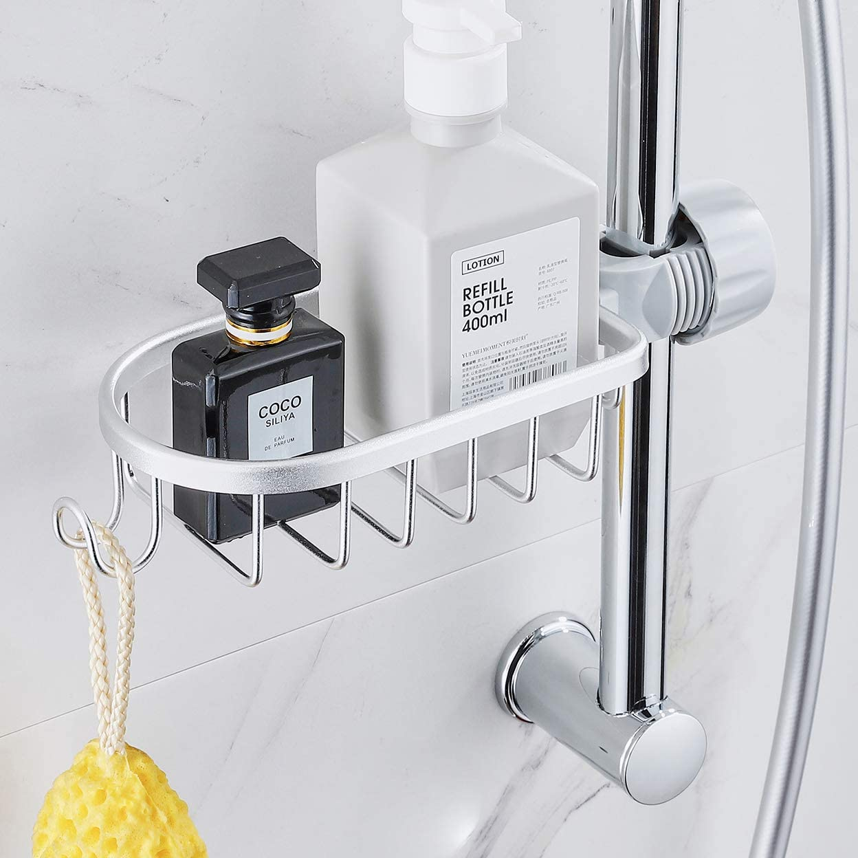 Faucet Shower Rod Assembled Kitchen Washing Sponge Holder Shower Soap Storage Basket