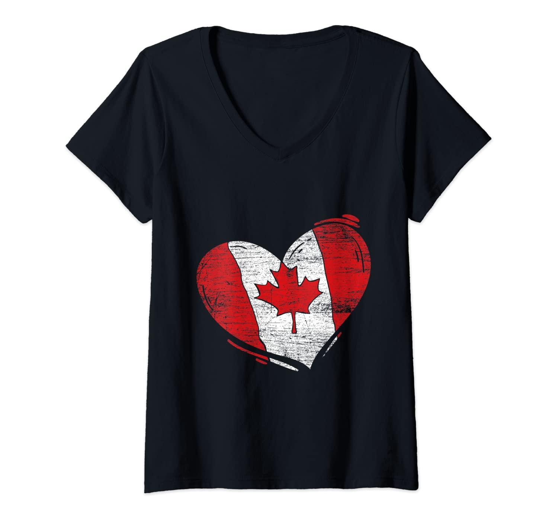 Womens Love Heart Canadian Maple Leaf Canada Flag V-Neck T-Shirt