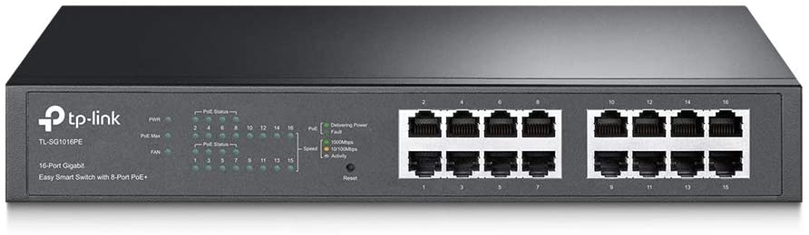 TP-Link 16 Port Gigabit PoE Switch 8 PoE Port+ @110W Easy Smart Plug & Play Lifetime Protection Sturdy Metal w/ Shielded Ports Support QoS, Vlan, IGMP and Link Aggregation (TL-SG1016PE)