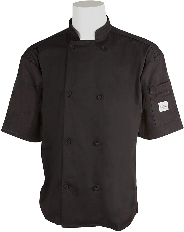 Mercer Culinary M61022BKM Genesis Mens Short Sleeve Chef Jacket with Cloth Knot Buttons, Medium, Black