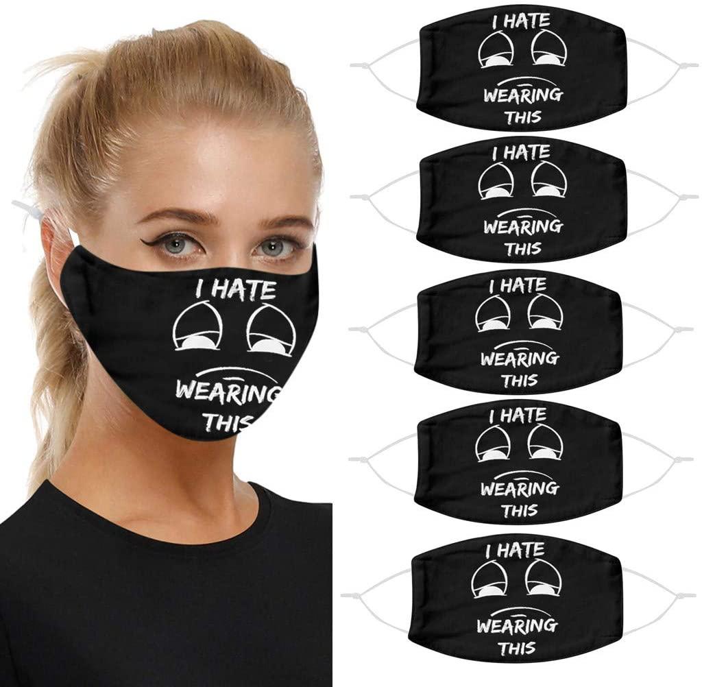 Basysin Funny Cute Printed Cloth Fabric Adults Women Men Adjustable Reusable Breathable Fashion Washable Bandanas 1/5PC