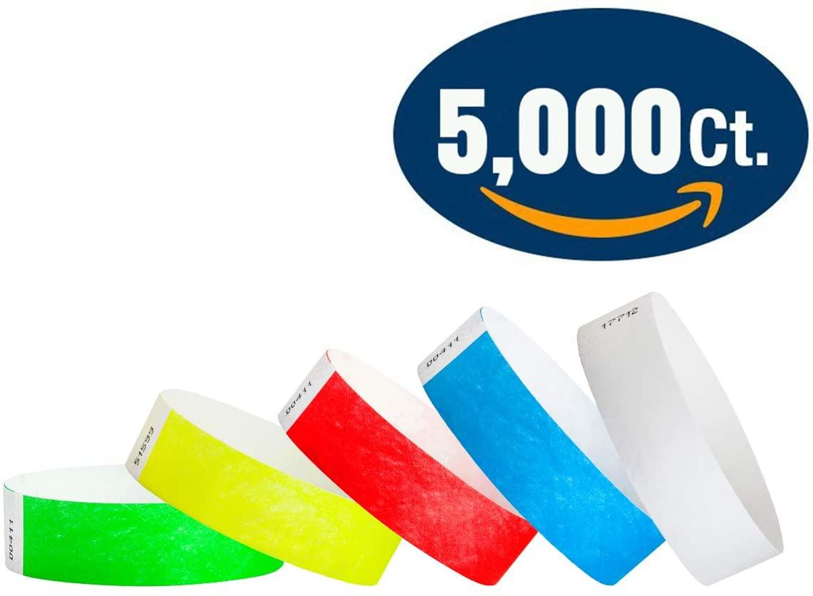 5,000 ct 3/4 Tyvek Variety Pack - Neon Red, Neon Blue, Neon Green, Neon Yellow, White