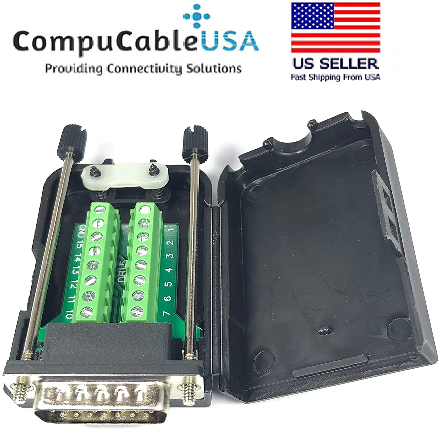 CompuCablePlusUSA.com Best DB15 Male Solderless Breakout Terminal Block Connector with Case with Thumb Screws Kit
